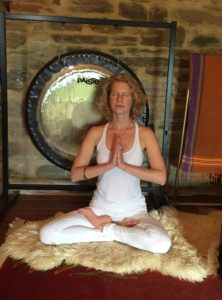Heather finding stillness at Yoga Borgo in Italy